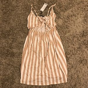 stripe Flowy Cutout Midi Dress